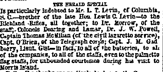 """clipping includes reference to """"Mr. L. T. Levin, of  Columbia, S.C.—brother of the late Hon. Lewis C. Levin—to the Richland Rifles, all together."""""""